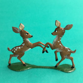 GERMAN PEWTER SUMMER PLAYFUL FAWNS