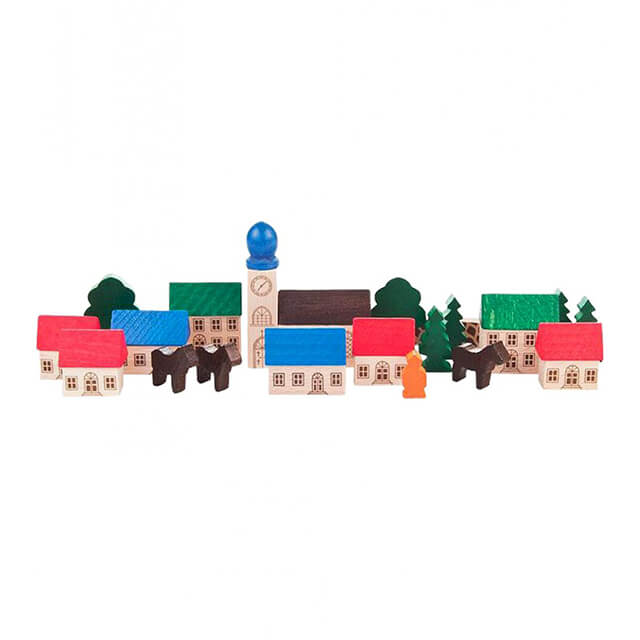 GERMAN WOODEN TOY VILLAGE